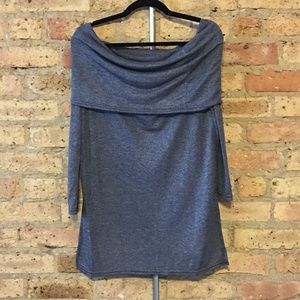 NWT Ruched Fold-Over Off-The-Shoulder Long Sleeve